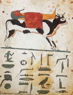 Toro Apis transportando a una momia. Los jeroglíficos mencionan el nombre del donante de la estela: Nesamón, sacerdote del dios Montu en Tebas. Estela funeraria. Kunsthistorisches Museum. Viena