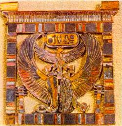 Pectoral con el nombre de Ramses II grabado. Oro, cornalina, turquesa y lapislázuli. Museo del Louvre