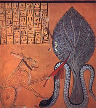 La serpiente Apofis atacada por un felino con orejas de conejo Tumba de Inherjani. XX Dinastía
