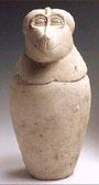 Vaso canopo del dios Hapy. Altura: 36 cm, diámetro 14 cm.  Museo arqueológico Nacional. Madrid.