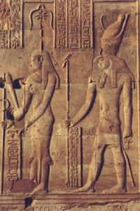 Seshat y Horus. Relieve del templo de Kom Ombo